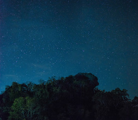 Pha Hua Sing at night, The name of Lion face rock at Doi Samer Dao national park in Thailand