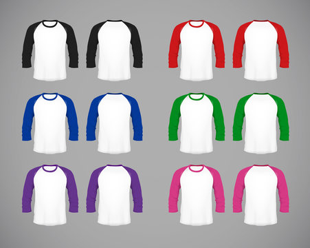 Men's slim-fitting long sleeve baseball shirt set. Multicolor Mock-up design template for branding.