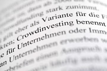Crowdinvesting, Crowdlending, Crowdfunding, Unschärfe, Text, Finanzierung, Schwarmfinanzierung, Projekt, Kredit, Kapitalgeber, Kleinkredit, Mikrokredit, Risiko, Darlehen, Forderung, Totalverlust