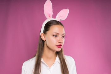 Young woman in rabbit ears
