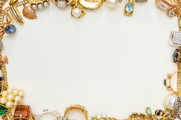 Fashion jewelry frame on white background