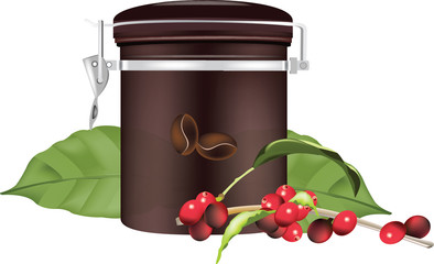 contenitore e bacche del caffè