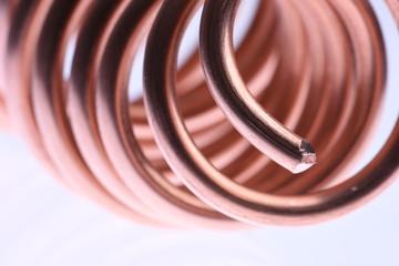 Spiral copper wire close-up