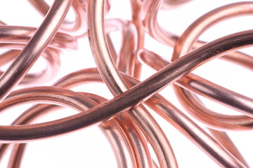 Copper wire close-up isolated on white background