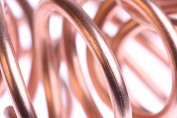 Abstract lines, copper wire isolated on white background