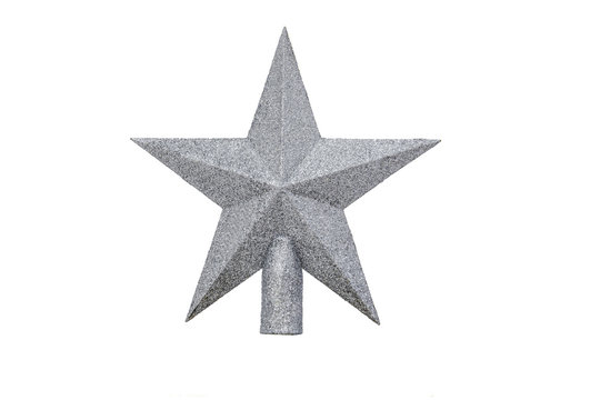 Silver Star on white background isolated. Decoration Christmas tree top gold star.