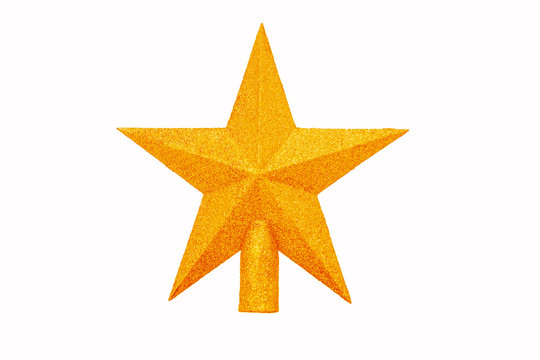 Gold Star on white background isolated. Decoration Christmas tree top gold star.