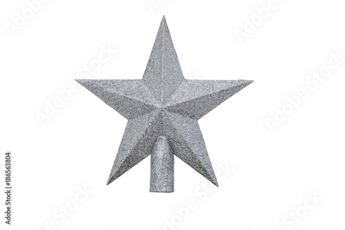 327c51ba1bbd Silver Star on white background isolated. Decoration Christmas tree top  gold star.