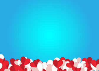 Red and white paper hearts Valentines day card on blue light background