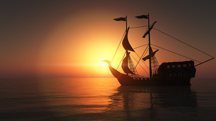 Tuinposter Schip old ship in sea sunset