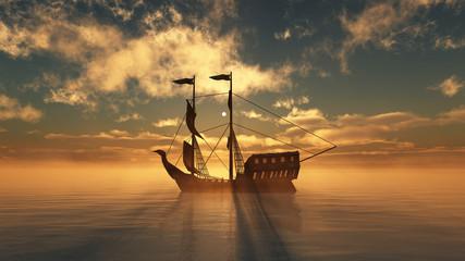 Fotobehang Schip old ship in sea sunset