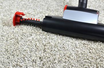 Pet hairs vacuum cleaner brush on grey shaggy carpet surface