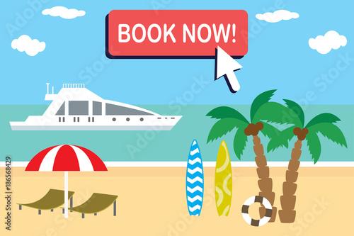 cartoon travel banner template tropical beach and summer trip