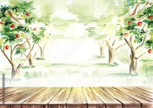 table in fruit garden landscape hand drawn watercolor template and