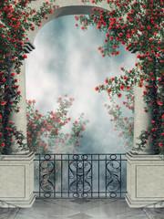 Gotycki balkon z pnącymi różami