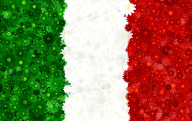 Italian flag with a blossom pattern