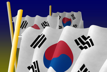 Korean Flags on the poles