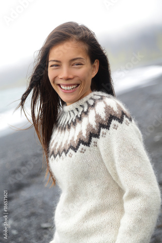 Winter Sweater Asian Woman Wearing Icelandic Pattern Wool Knitted
