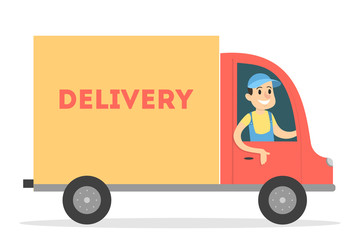 Isolated delivery truck.