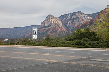 A speed limit scene on the side of the road in Sedona