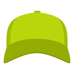 Baseball cap in front icon. Flat illustration of baseball cap vector icon for web.
