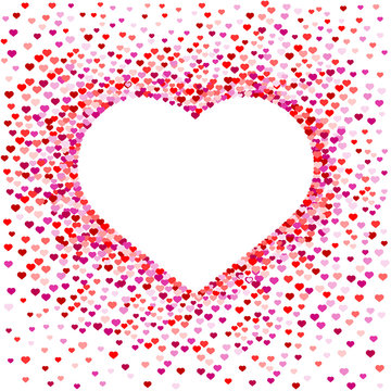 Confetti in the shape of the heart, a spray of hearts. A white heart in the middle. Decorative element for the frame and inscriptions. Vector illustration.