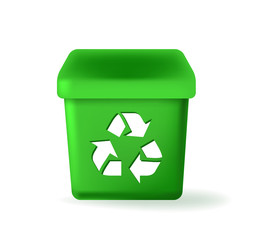 Cute Green Recycle Garbage Can Icon on White Background . Isolated Vector Illustration