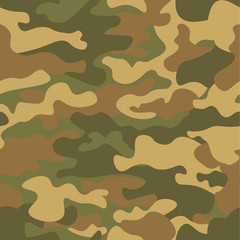 Seamless camouflage pattern. Khaki texture, vector illustration. Camo print background. Abstract military style backdrop for your design