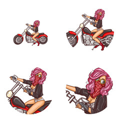 Vector pop art round avatar icons for users social networking, blogs, profile icons. Sexy girl biker in underwear, leather jacket and red bandana covering face sits on motorcycle and holds handlebar