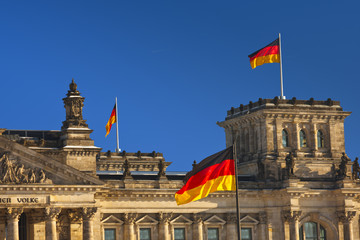 Reichstag With German Flags