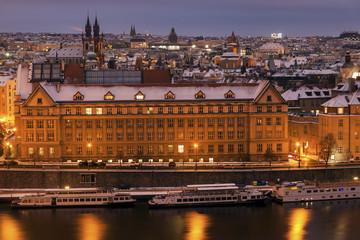 Winter in Prague - bridges on Vltava River
