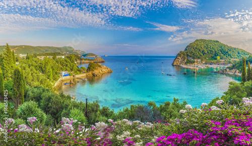 Wall mural Panoramic view of Paleokastritsa lagoon bay on Corfu island, Greece