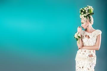 woman white roses