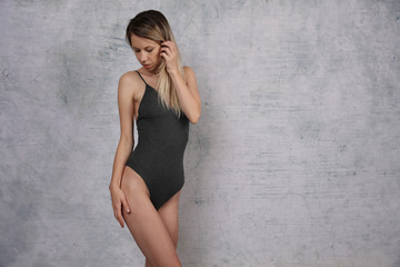 Portrait fit woman, healthy and slim female body. Smooth Soft Skin. Fitness, Dieting results , Body Care Concept