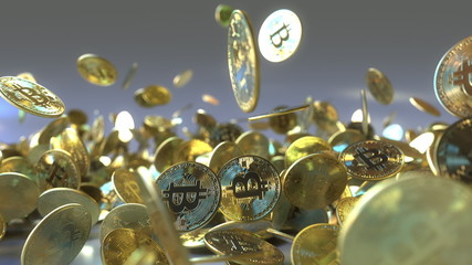 Falling bitcoin tokens 3D rendering