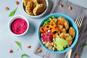 Quinoa Beet Hummus Falafel Bowl