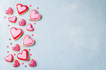 Heart shape sugar cookies for Valentine's Day