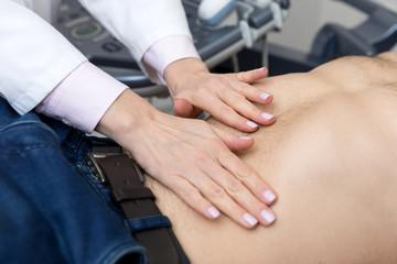 abdominal  examination in medical office