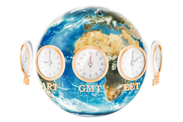 World Timezone concept, 3D rendering