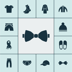 Dress icons set with necktie, evening gown, casual and other necktie