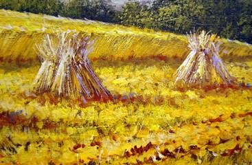 Rural oil paintings landscape, canvas. Fine art