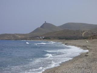 Algarrobico en Cabo de Gata, playa española de Carboneras,Mojácar. Situada en Cabo de Gata-Níjar conocida por un hotel ilegal