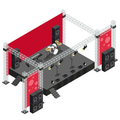 Concert Stage in Isometric Illustration