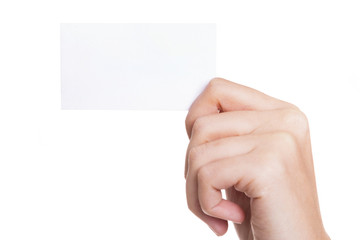 Female hand holding business card on white background