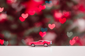 red car and hearts