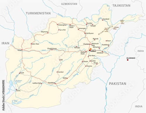 Afghanistan vector road map with important cities\