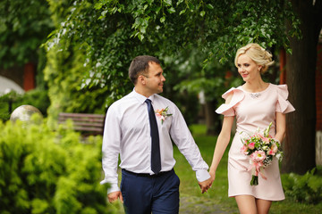 Love story of happy couple in love after first date. Marriage concept of beautiful caucasian couple. Valentines day concept