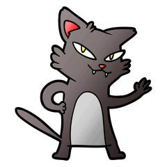 happy cartoon cat waving