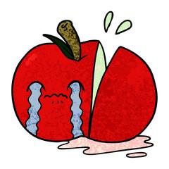 cartoon sad sliced apple