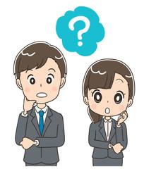 若いビジネスマン 就活生のイラスト 疑問